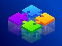 Isometriskt styckpussel för fyra färg tillsammans Partners förbinder, förbryllar stycket, partnerbyggnadsbegrepp vektor vektor illustrationer