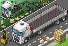Isometriskt välj upp lastbilen i Front View Arkivfoto