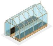 Isometriskt växthus med glasväggar, fundament, gaveltak, trädgårds- säng Royaltyfri Bild