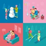 Isometriskt vinterfolk Skida par-, flicka- och pojkedanandesnögubbe, gå som är utomhus- Royaltyfria Bilder