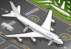 Isometriskt vitt flygplan som landas i Front View Arkivfoton