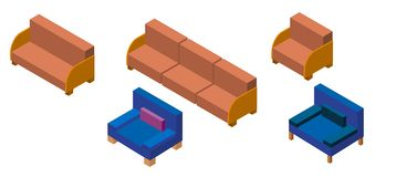 Isometry布置了椅子和沙发 被缓冲的家具 免版税库存图片