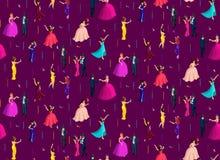 Isometry无缝的背景、3d女孩和人,化妆舞会,与羽毛,糖果,威尼斯式化妆舞会的面具 皇族释放例证