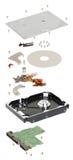 Isometry αποσυντεθειμένος σκληρός δίσκος σε ένα άσπρο υπόβαθρο Στοκ εικόνες με δικαίωμα ελεύθερης χρήσης