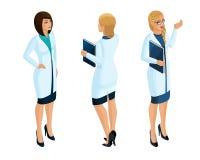 Isometry работников женщины медицинских, доктор, хирург, медсестра, красивая в медицинских мантиях иллюстрация штока