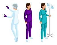 Isometry работников женщины медицинских, 3d медсестра, красивые девушки в медицинских одеждах в процессе работы иллюстрация вектора