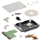 Isometry 在白色背景的被拆卸的硬盘 库存图片