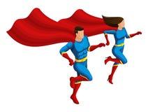Isometry bohaterzy jest mężczyzną i dziewczyna w kostiumach, biegają pomagać peleryna rozwijają, 3D charaktery royalty ilustracja