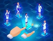 Isometry ciao di tecnologia di tecnologia, il concetto di scelta del medico online, registrante alla ricezione, su un blu luminos illustrazione vettoriale