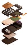Isometry De gedemonteerde mobiele telefoon die op een witte rug wordt geïsoleerd Stock Foto