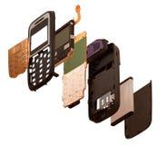 Isometry De gedemonteerde mobiele telefoon die op een witte rug wordt geïsoleerd Stock Foto's