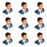 Isometry de la cabeza del hombre de negocios del peinado, 3d cara, ojos, labios, emociones del hombre, expresiones faciales, cóle libre illustration