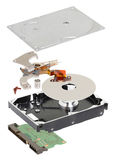 Isometry. disassembled hard disk on a white background Stock Images