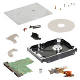 Isometry. disassembled hard disk on a white background. Disassembled hard disk on a white background stock images