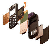 Isometry. The disassembled mobile phone isolated on a white back Stock Photos