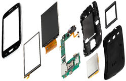 Isometry disassembled smartphone. Isometry disassembled smart phone on a white background royalty free stock photos