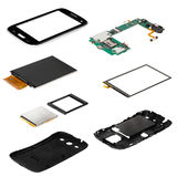 Isometry disassembled smartphone. Isometry of the disassembled smart phone on a white background isolation royalty free stock photos
