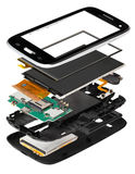 Isometry disassembled smartphone. Isometry of the disassembled smart phone on a white background isolation royalty free stock photo