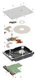 Isometry disco duro desmontado en un fondo blanco Imágenes de archivo libres de regalías