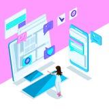 Isometry is een helder malplaatje met een Internet-correspondentie van een jong meisje, smartphone, monitor, bericht Heldere holo stock illustratie
