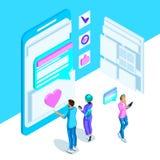 Isometry is een levendig malplaatje met een Internet-correspondentie van jongeren, een smartphone, een monitor, berichten helder vector illustratie