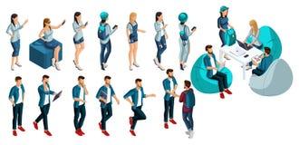Isometry is een reeks vectormensen, 3d karakters van een man en een vrouw in de kleren van de zomerjeans, modieuze rugzakken stock illustratie