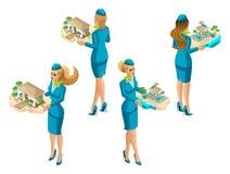 Isometry is een reeks vrouwelijke stewardessen die diverse soorten recreatie aanbieden, luxueuze warme hotels, royalty-vrije illustratie