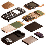 Isometry Il telefono cellulare smontato isolato su una parte posteriore di bianco Fotografia Stock Libera da Diritti
