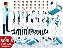 Isometry jest setem elementy dla tworzyć twój 3D lekarki ` s charakteru, chirurga gesty nogi sety Premiowy sprzęt medyczny ilustracji