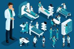 Isometry medycyna, Fabrykuje myśl, wielki chirurg, urządzenia medyczne, diagnostycy, traktowanie, ampuła ustawiająca sprzęt medyc ilustracja wektor