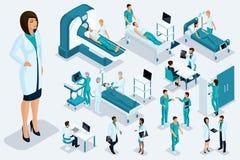 Isometry medycyna, kobiety lekarka, chirurg wielka postać, urządzenia medyczne, diagnoza, traktowanie, ampuła ustawiająca sprzęt  royalty ilustracja