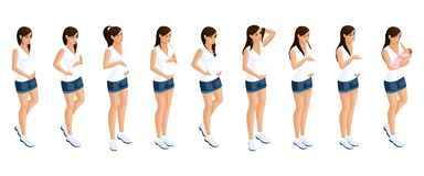 Isometry of a pregnant girl at different periods of pregnancy, a woman is holding a stomach, a newborn baby. Emotion happy girl. Great advertising concept royalty free illustration