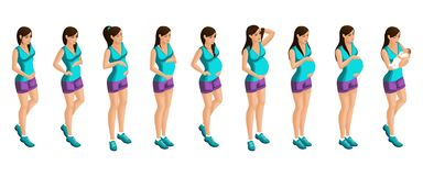 Isometry of a pregnant girl at different periods of pregnancy, a woman holds the abdomen and the birth of a child. Emotion happy. Pregnant girl excellent royalty free illustration