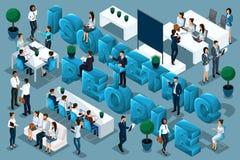 Isometry qualitatif, 3D les caractères, hommes d'affaires conduisent des formations et des personnes de train La grande publicité illustration stock