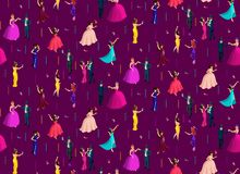 Isometry seamless background, 3d girls and men, masquerade, masks with feathers, candy, Venetian masquerade royalty free illustration