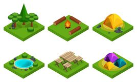 Isometry set of outdoor recreation, travel, camping, forest, mountains, lakes. A large set of things for creating their own rest.  royalty free illustration