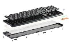 Isometry tastiera smontata isolata su fondo bianco Fotografie Stock Libere da Diritti