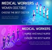 Isometry is a vivid concept of the use of types of medical workers, doctors, surgeons, nurse, colorfully designed banners stock illustration