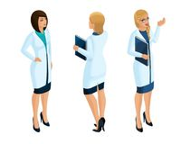 Isometry of a woman medical workers, a doctor, surgeon, nurse, beautiful in medical gowns stock illustration