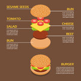 Isométrico dos ingredientes do hamburguer infographic Foto de Stock Royalty Free
