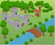 Isométrico para el juego Elementos para el juego castillo del puente de la estrategia Foto de archivo libre de regalías
