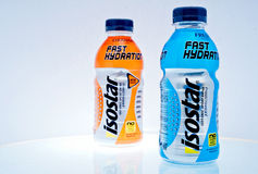 Isostar drink. ZAGREB , CROATIA - FEBRUARY 1 ,2014 :  bottles of isotonic sport drink Isostar on the table Stock Image