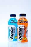 Isostar drink. ZAGREB , CROATIA - FEBRUARY 1 ,2014 :  bottles of isotonic sport drink Isostar on the table Royalty Free Stock Image