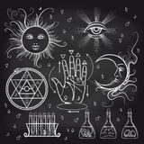 Isoteric and alchemy elements on chalkboard vector illustration