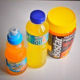 Isotonic drinks. Contains electrolytes and carbohydrates Stock Image