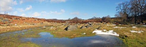 Ispöl i den Padley klyftan, Derbyshire maximalt område Fotografering för Bildbyråer