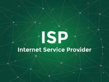 Isp άσπρη απεικόνιση κειμένων Πάροχων Υπηρεσιών Ίντερνετ με τον πράσινο χάρτη αστερισμού ως υπόβαθρο διανυσματική απεικόνιση
