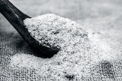 Psyllium husk also known as isubgol in wooden scoop Stock Photo