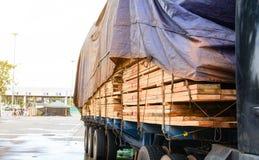 Ispezione aspettante del parco del camion di trasporto del legname Immagine Stock Libera da Diritti