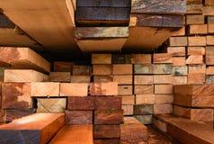 Ispezione aspettante del parco del camion di trasporto del legname Fotografia Stock Libera da Diritti